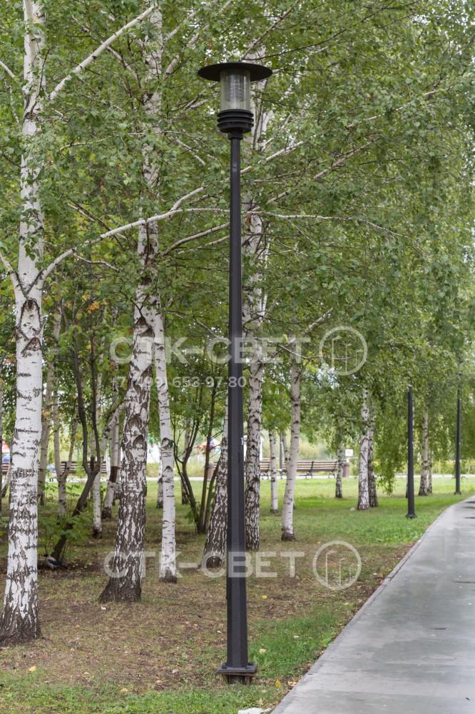 Внешний вид граненой парковой опоры можно изменять путем окрашивания в разные цвета и использования светильников различной формы. На фото представлена черная опора с венчающим светильником с люминесцентной лампой.