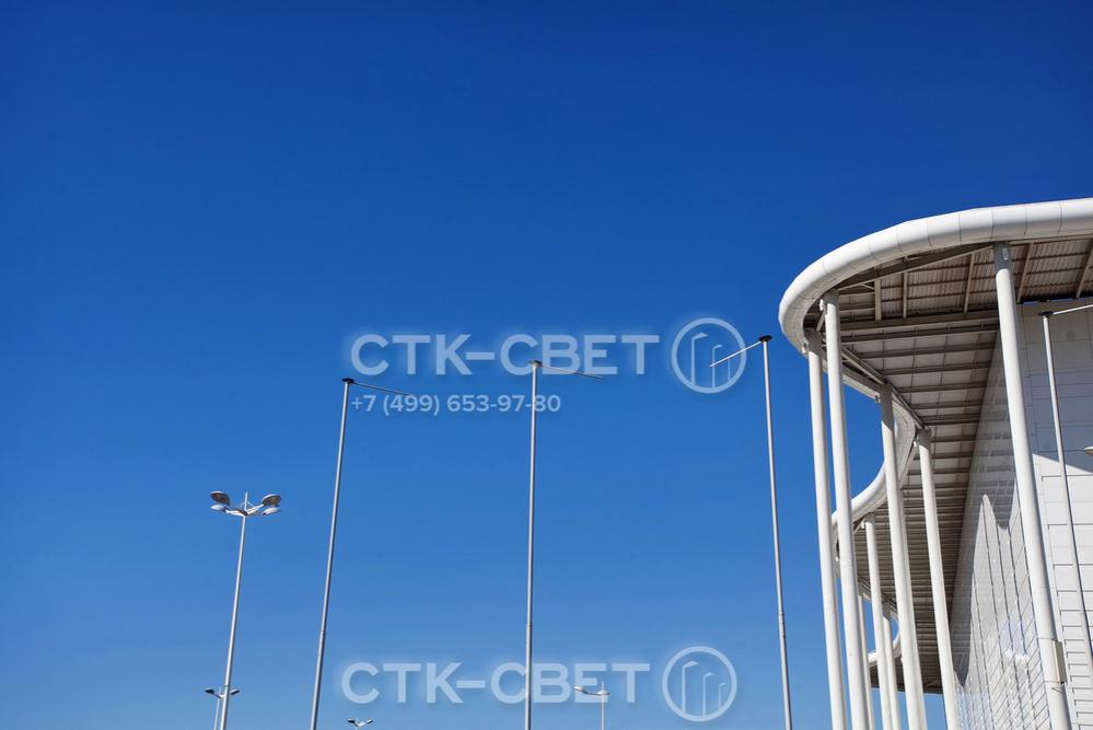 Приспособления для размещения флагов и баннеров могут использоваться вместе с другими инженерными конструкциями для приборов освещения. Благодаря круглому поперечному сечению они сочетаются с круглоконическими опорами.