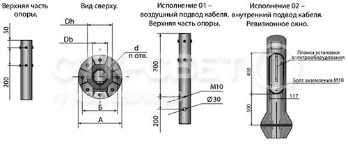 Силовые граненые опоры из листовой стали выпускаются в двух вариантах – с подземной и воздушной подводкой кабеля. В последнем случае для удобной коммутации в нижней части ствола делается ревизионное отверстие.