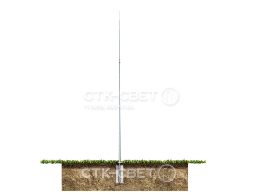 Молниеотвод устанавливается на месте фланцевым способом. Для этого в грунте предварительно бетонируется закладная деталь фундамента, к которой затем прикручивается наземная часть с помощью болтов и гаек.